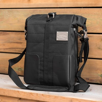 Front View of Kappa CR600 Cafe Racer Expandable Motorcycle Tank Bag in Black with Shoulder Strap