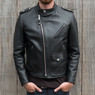 Schott Steerhide Cafecto Leather Jacket - Black (front zipped)