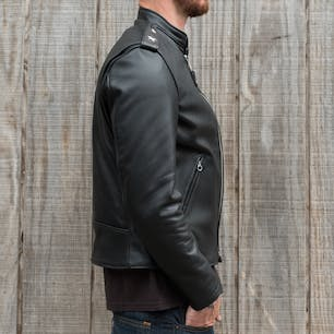 Schott Steerhide Cafecto Leather Jacket - Black (side)