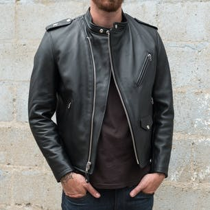 Schott Steerhide Cafecto Leather Jacket - Black (unzipped)
