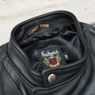 Schott Steerhide Cafecto Leather Jacket - Black (collar and lining)