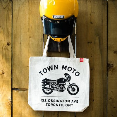 Town Moto Address Tote Bag in Cream and Black