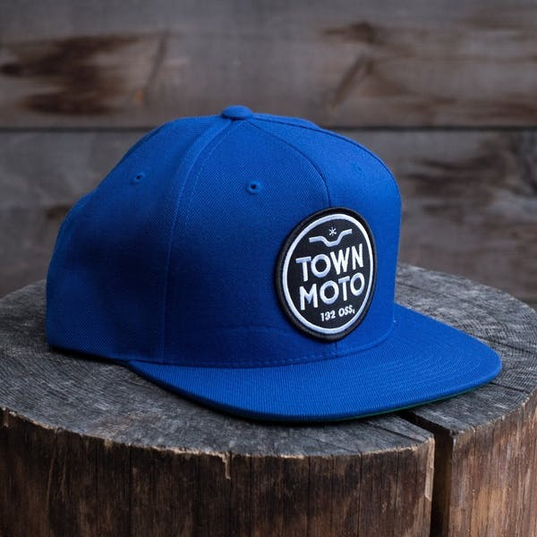 Town Moto Logo Flat Brim Hat - Royal Blue