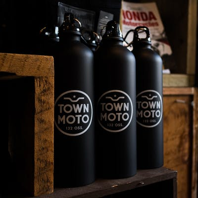 Town Moto Logo Stainless Steel Water Bottle, Matte Black - 25oz